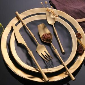 Edelstahl Besteckset Gold Dinner Set Essen Geschirr Geschenk Gabeln Teelöffel