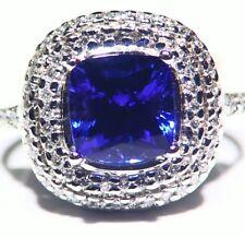 4.50ctCT 14k ORO Tanzanita Natural Diamante Vintage AAA Anillo Compromiso Boda