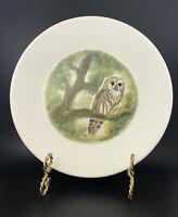 Marcel Guillot Dural Owl Plate France Handpainted on White Art Pottery