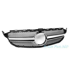 15-16 MERCEDES-BENZ C-CLASS W205 SPORT MESH FRONT HOOD GRILLE SHELL CHROME TRIM