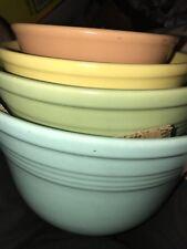 Vintage 30s Mission Bell California Pottery HTF Nesting Bowl 4 Piece Set USA