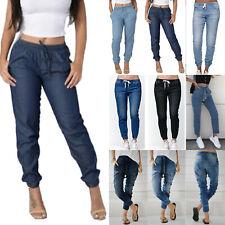 Womens Elastic Waist Drawstring Jeans Boyfriend Joggers Denim Travel Trousers