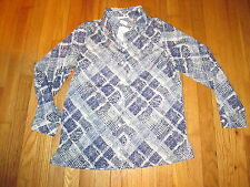 Womens The TOG Shop Purple,Gray,White Semi Sheer Button Long Sleeve Shirt 8 NWOT