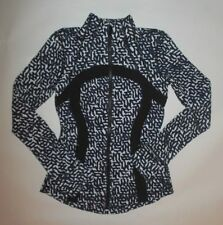 LULULEMON DEFINE JACKET NET POP BLACK WHITE YOGA PILATES LOUNGE GYM RUN EUC sz 4