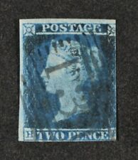 QV, 1841 2d. blue, a fresh, used 3 margin example.