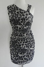 New Allen B. Dress Mini Bodycon Sleeveless Ruched Mesh Size XS Black/Grey