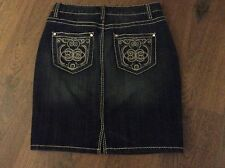 WOMENS LEE NINE WEST NEW NWOT SIZE 4 DENIM BLUE JEAN SKIRT BLING THICK STITCH