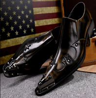 Mens Punk Pointed Toe Slip On Rivet Metal Dress Formal Party Leather Shoes