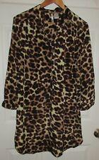Kate adj sleeves women Jr sz L brown black tan leopard button sheath shirt dress