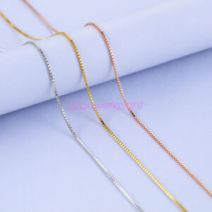 """Genuine Solid 925 Sterling Silver BOX Curb Chain Necklace 16""""18""""20""""22""""24""""inches"""