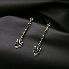 Boucles d`Oreilles CLIP ON Doré Long Fin Art Deco Filigrane Perle Vert Class B13