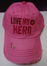 Love My Hero Pink Baseball Hat Cap Homefront Military Adjustable Gaby Juergens