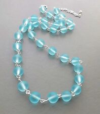 Aqua sea blue frosted glass necklace . matte round bead silver tone jewelry