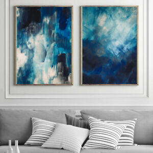 Blue Abstract Wall Art Set Watercolour Painting Print Poster Bedroom Art A4 - A1