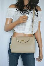 MICHAEL KORS MOTT LARGE CLUTCH SMOOTH LEATHER CROSSBODY BAG BISQUE