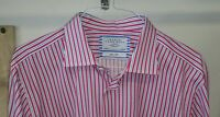 CHARLES TYRWHITT Dress Shirt 17 1/2 36 Pink Blue White Stripe Flip Cuff Slim Fit