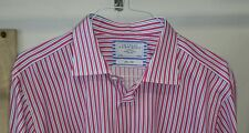 CHARLES TYRWHITT Dress Shirt 17 1/2 36 Pink Blue White Stripe Flip Cuff Slim Fit