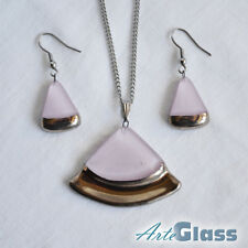 and earrings set, circle sector Pink old platinum handcrafted, woman necklace