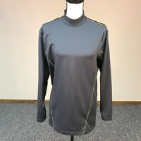 Reebok Mock Neck Top Womens Large  Gray Black Long Sleeve Playdry Athletic Shirt