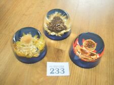 RESIN FLOWER PAPERWEIGHT X 3