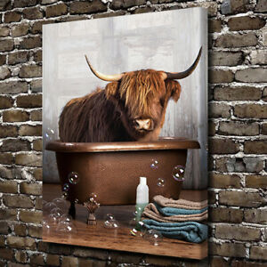Highland Cow Poster Prints Animal Canvas Painting Bathroom Wall Art for Decor