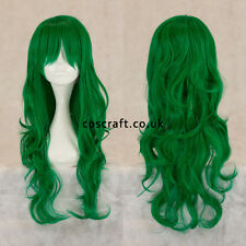 Long wavy curly cosplay wig with fringe, forest green, UK seller, Charlie style