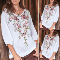 Plus Size Women 3/4 Sleeve Crew Neck Tops Casual Plain Blouse Vintage Shirt Tee