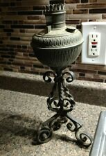 Vintage Cast Iron Ornate Oil Lamp part metal antique