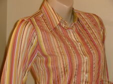Women's Robert Graham Cotton Multi-Color Striped Embroidered Button Shirt Sz XS