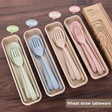 3 Pcs/set Wheat Straw Travel Tableware With Dinnerware Case Cutlery Set Portable