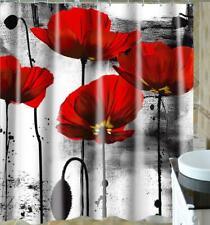 Shower Curtain Bathroom Bath Shower Decoration Red Flower Painting Art Design
