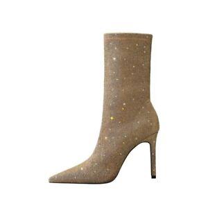 Sexy Women Pointed Toe Nightclub Fall Slim High Heels Shiny Shoes Mid-calf Boots