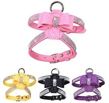 Dog Harness Bling Rhinestone Collar Velvet Leather Leash Small Puppy Chihuahua