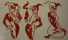 """Harley Quinn 3 Pose Pack 9"""" x 5"""" Vinyl Decals ***RED***  - Sticker"""