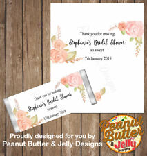 Personalised Floral Hens Bridal Shower Chocolate Bar Wrapper x10 wraps ($1 ea)