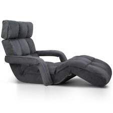 Lounge Sofa Bed Floor Armchair Folding Recliner Chaise Chair Adjustable Charcoal