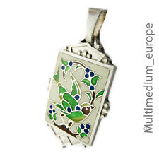 Anhänger Art Deco Silber Emaille Vogel Blumen silver cloisonne enamel pendant