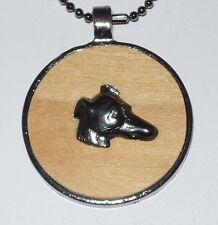 Hematite + Wood Greyhound Dog Pendant Necklace Whippet