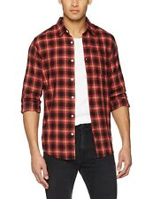 New Look Men's Eagle Red Check Casual Shirt, Multicoloured (Red Pattern), Small
