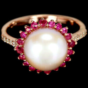 GENUINE AAA PINK PEARL, RED RUBY & WHITE CZ STERLING 925 SILVER RING SIZE 6.75