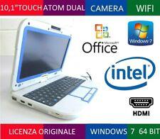 "NETBOOK TOUCHSCREEN 10,1"" LED INTEL DUAL RAM 2GB HDD 320GB TABLET HDMI PC WIN 7"