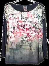 Damen Pailletten Shirt Via Appia, rot/grau oder oliv, Gr. 38 - 48, Longshirt NEU