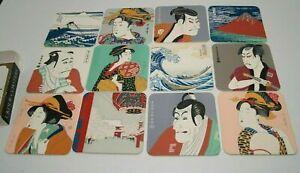 Ukiyoe Coasters Japanese Fine Art Set of 12 Utamaro Sharaku Hiroshige New