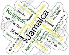 "Jamaica Kingston Country Map Word Cloud Bumper Vinyl Sticker Decal 5""X4"""