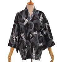 Japanese Style Black Haori Shirt Womens Summer Loose Crane Print Kimono Tops