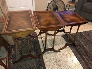 Vintage Wooden Grooved Gold Inlay Nesting Tables Wood Set of 3 MCM