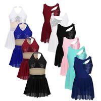 Kids Girls Lyrical Ballet Dance Dress Contemporary Costume Skating Dance Wear