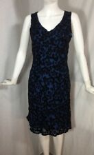 Laura Ashley Blue / Black Velvet Floral Design Dress Sz 6 US Silk Blend