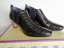 Brighton TRILL Pewter Patent Leather Croc Slip on Ankle Boots Shoes 8M EUC $230