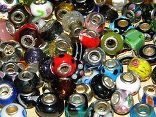 NEW LOT Charm GLASS Murano & European (20/pcs lot) Assorted Style MIX BEADS